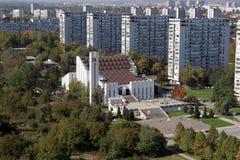 Iglesia de la cruz santa en Zagreb imagen de archivo