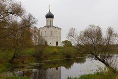 Iglesia de la intercesión en el Nerl Fotografía de archivo libre de regalías