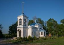 Iglesia de la intercesión de la Virgen María Blessed, Podvorie Saburovo de Trinidad-St santo Sergius Lavra, di de Moscú Foto de archivo libre de regalías