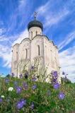 Iglesia de la intercesión de la Virgen Santa en el río de Nerl en el día de verano brillante Fotos de archivo libres de regalías