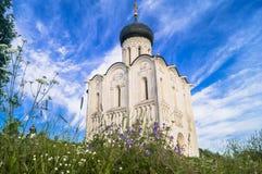 Iglesia de la intercesión de la Virgen Santa en el río de Nerl en el día de verano brillante Foto de archivo libre de regalías