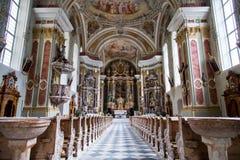 Iglesia de la montaña de las dolomías Foto de archivo libre de regalías