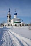 Iglesia de la ortodoxia en invierno Fotos de archivo libres de regalías