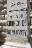 Iglesia de la placa de calle de la natividad fotografía de archivo