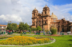 Iglesia de la Plaza的de阿玛斯Compania德赫苏斯在库斯科,秘鲁 库存照片