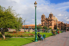 Iglesia de la Plaza的de阿玛斯Compania德赫苏斯在库斯科,秘鲁 库存图片
