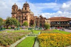 Iglesia de la Plaza的de阿玛斯Compania德赫苏斯在库斯科,秘鲁 免版税库存照片
