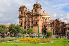 Iglesia de la Plaza的de阿玛斯Compania德赫苏斯在库斯科,秘鲁 免版税库存图片