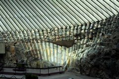 Iglesia de la roca en Helsinki, Finlandia Fotografía de archivo libre de regalías