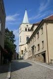 Iglesia de la suposición de la Virgen María en Valasske Mezirici foto de archivo libre de regalías