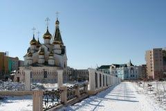 Iglesia de la transfiguración en Ykutsk Imágenes de archivo libres de regalías