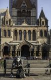 Iglesia de la trinidad en la ciudad de Boston fotos de archivo