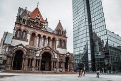 Iglesia de la trinidad en la ciudad de Boston Fotografía de archivo