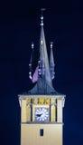 Iglesia de la Virgen Maria antes de Tyn iluminado Imagen de archivo