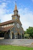 Iglesia de madera de Kontum, catedral antigua, herencia Fotos de archivo libres de regalías