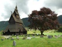 Iglesia de madera de Viking en Vik Fotos de archivo