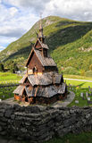 Iglesia de madera del bastón de Borgund en Noruega imágenes de archivo libres de regalías