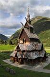 Iglesia de madera del bastón de Borgund en Noruega foto de archivo libre de regalías