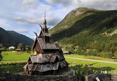 Iglesia de madera del bastón de Borgund en Noruega imagen de archivo libre de regalías