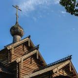 Iglesia de madera en Vitoslavlitsy Imagen de archivo libre de regalías