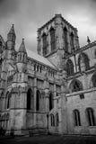 Iglesia de monasterio de York en blanco y negro Imágenes de archivo libres de regalías