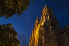 Iglesia de monasterio de York en la oscuridad Fotografía de archivo