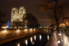 Iglesia de Notre Dame y el río Sena en París Fotos de archivo libres de regalías