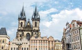 Iglesia de nuestra señora antes de Tyn en Praga, República Checa Fotografía de archivo