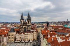 Iglesia de nuestra señora antes del ½ n, Praga de TÃ. Imágenes de archivo libres de regalías