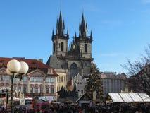 Iglesia de nuestra señora antes de Tyn en Praga Fotos de archivo libres de regalías