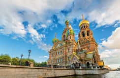 Iglesia de nuestro salvador en moyka derramado del fontanka del neva del río de Petersburgo Rusia del sainct de la sangre Foto de archivo libre de regalías