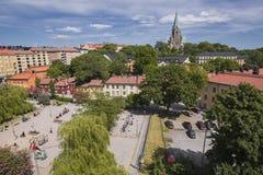 Iglesia de Nytorget y de Sofiakyrka en Estocolmo Foto de archivo
