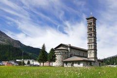 Iglesia de piedra vieja St Moritz, Suiza Foto de archivo libre de regalías