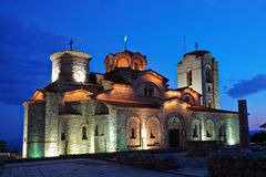 Iglesia de Plaosnik en Ohrid en la noche Imagen de archivo