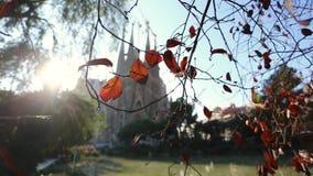 Iglesia de Sagrada Familia del La en otoño almacen de video