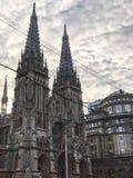 Iglesia de San Nicol?s, casa del ?rgano y de la m?sica de c?mara, Roman Catholic Church de San Nicol?s, Ucrania, Kiev 17 de abril foto de archivo