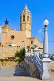 Iglesia de Sant Bartomeu en Sitges, España Fotos de archivo