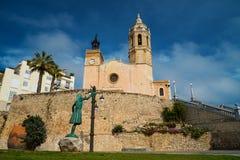 Iglesia de Sant Bartomeu i Santa Tecla en Sitges Imágenes de archivo libres de regalías