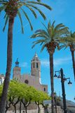 Iglesia de Sant Bertomeu y de Santa Tecla en Sitges Costa Brava, Espa?a Imagen de archivo