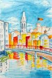 Iglesia de Sant Feliu en Girona, España libre illustration