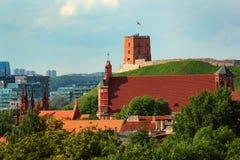 Iglesia de St Anne y de la torre de Gediminas en Vilna, Lituania fotografía de archivo