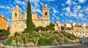 Iglesia de St Lawrence en Birgu, Malta Imagen de archivo libre de regalías