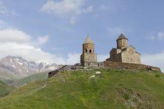 Iglesia de trinidad de Gergeti, Georgia Imagen de archivo libre de regalías