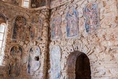 Iglesia del bizantino de los frescos de Mystras Imágenes de archivo libres de regalías