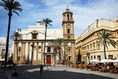 Iglesia del café y de Santiago, Cádiz Foto de archivo