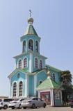 Iglesia del campanario de la natividad de la Virgen bendecida en Lazarevsky, Sochi Imagenes de archivo