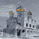 Iglesia del cristianismo en Rusia, invierno ilustración del vector