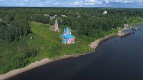 Iglesia del icono de la madre de dios del vídeo aéreo de Kazán Tutaev, Rusia metrajes