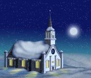 Iglesia del invierno en claro de luna ilustración del vector