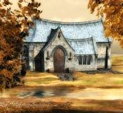 Iglesia del otoño stock de ilustración
